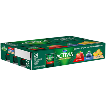Activia Yogurt, Strawberry, Peach, and Blueberry Combo Pack, 4oz