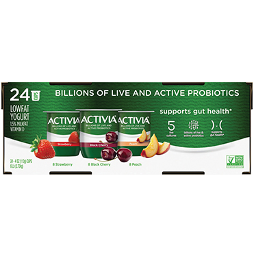 Activia Lowfat Yogurt, Strawberry, Black Cherry, and Peach 24-ct Variety Pack, 4oz