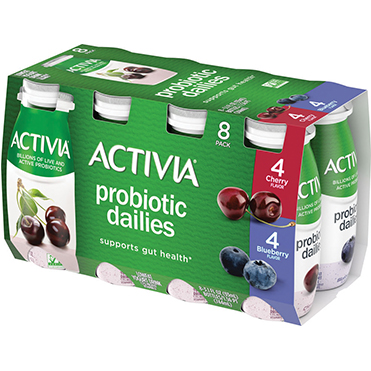 Activia Probiotic Dailies Yogurt Drink, Blueberry and Cherry 8-ct Variety Pack, 3.1oz