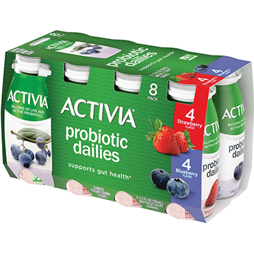 Activia Probiotic Dailies Yogurt Drink, Strawberry and Blueberry 8-ct Variety Pack, 3.1oz