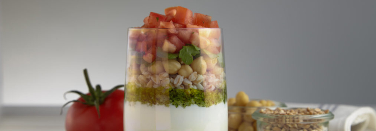 Basil Pesto and Farro Parfait