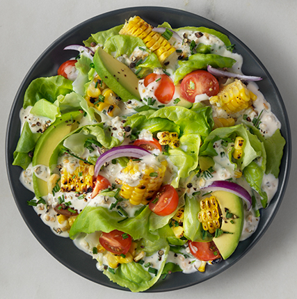 Bibb, Avocado, Tomato Salad, with Dairy-Free Ranch Dressing