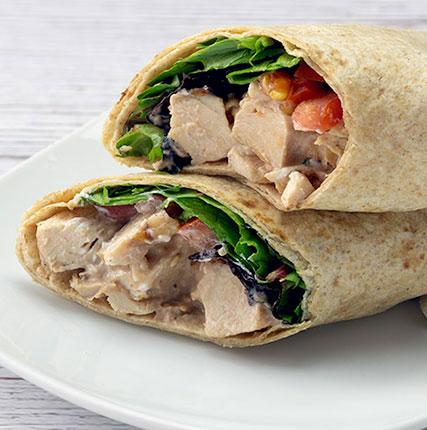Chicken Wrap with Creamy BBQ Yogurt Sauce