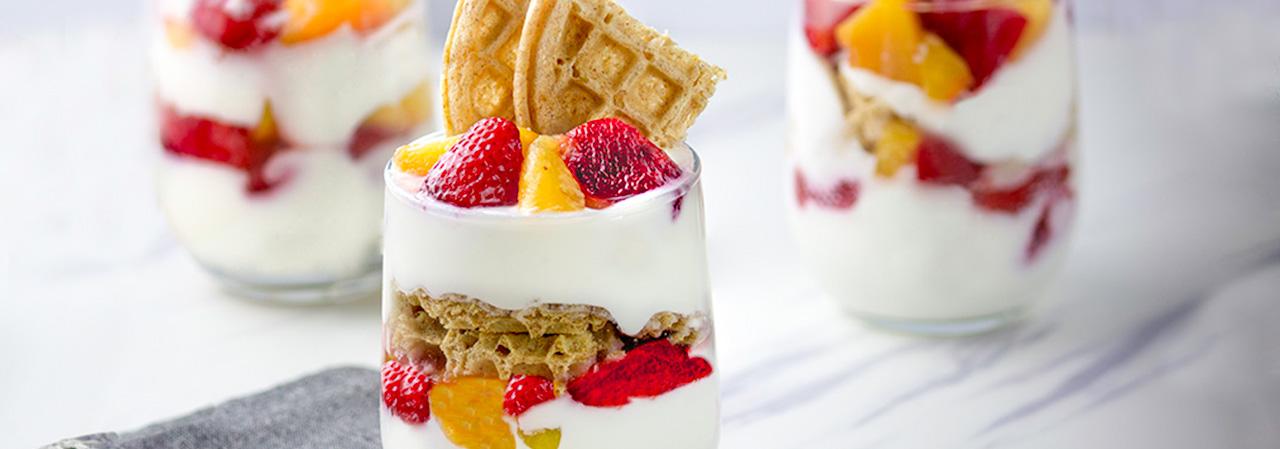 Creamy Strawberry Peach Waffle Parfait