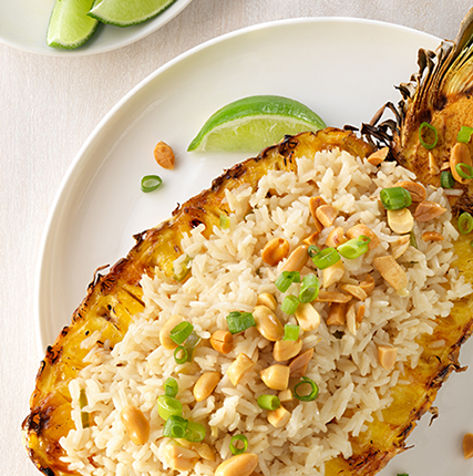 Roasted Pineapple with Serrano Pepper and Ginger Coconut Rice