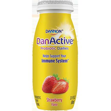DanActive Probiotic Dailies Dairy Drink, Strawberry 3.1oz