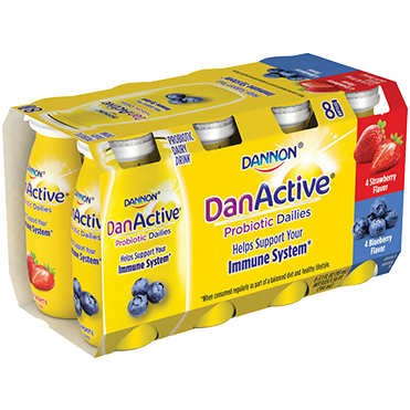 DanActive Probiotic Dailies Dairy Drink, Strawberry and Blueberry 8-ct Variety Pack, 3.1oz