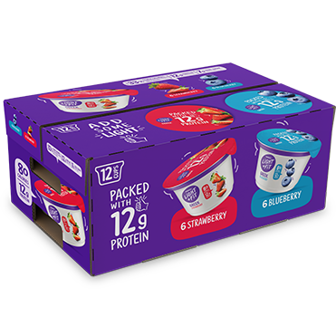 Light + FIt Nonfat Greek Yogurt, Blueberry and Strawberry 12-ct Variety Pack, 5.3oz