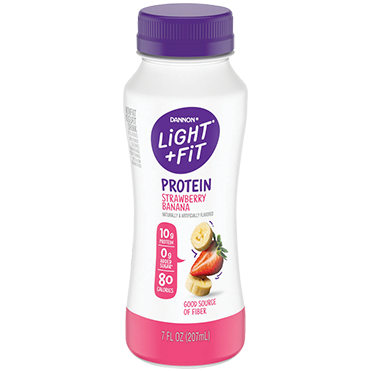 Light + Fit Nonfat Protein Smoothie Yogurt Drink, Strawberry Banana 7oz