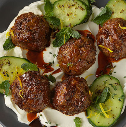 Spiced-Lamb Meatballs with Labneh and Cucumbers