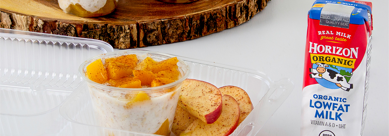 Peaches and Cream Overnight Oats with Cinnamon Apples Slices