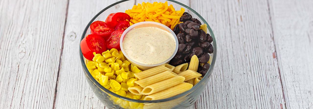 Vegetarian Fiesta Pasta Salad with Spicy Yogurt Dressing
