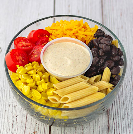 Vegetarian Fiesta Pasta Salad with Spicy Yogurt Dressing