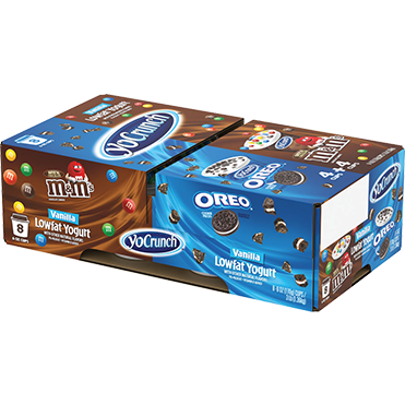 YoCrunch Lowfat Yogurt with Oreo<sup>®</sup> and M&Ms<sup>®</sup> 8-ct Variety Pack, 4oz