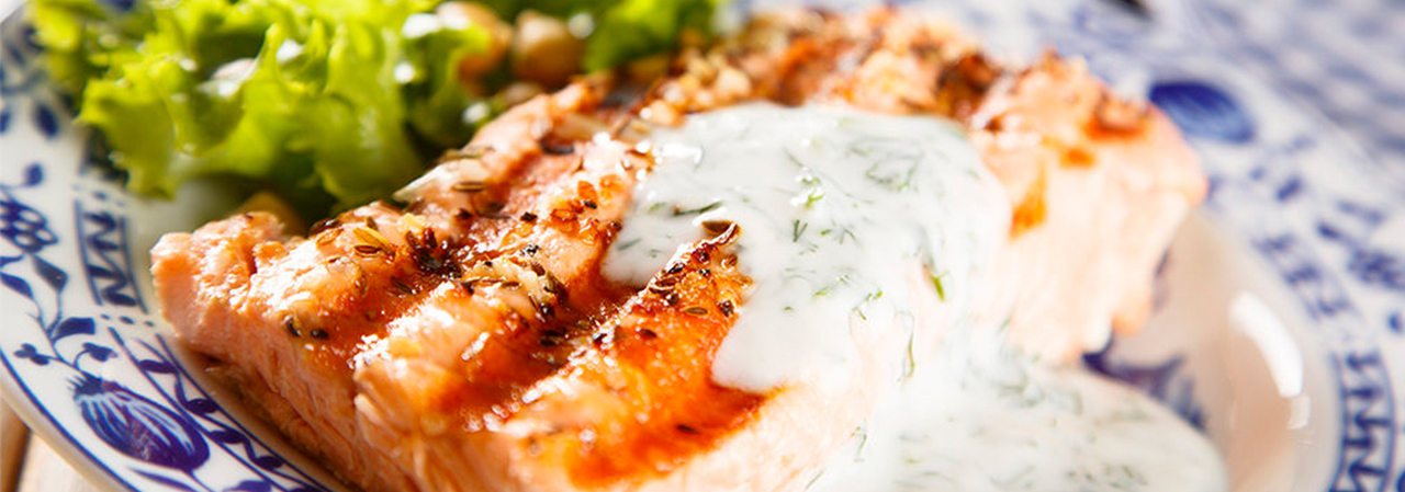 Pan-Roasted Salmon with Tzatziki & Fennel Arugula Salad