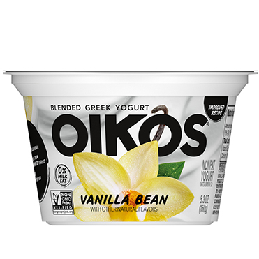 Oikos Blended Nonfat Greek Yogurt 0%, Vanilla Bean 5.3 oz - Danone Food Service
