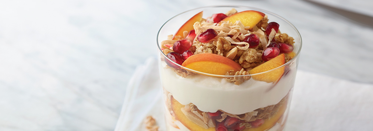 Grilled Peach and Pomegranate Parfait