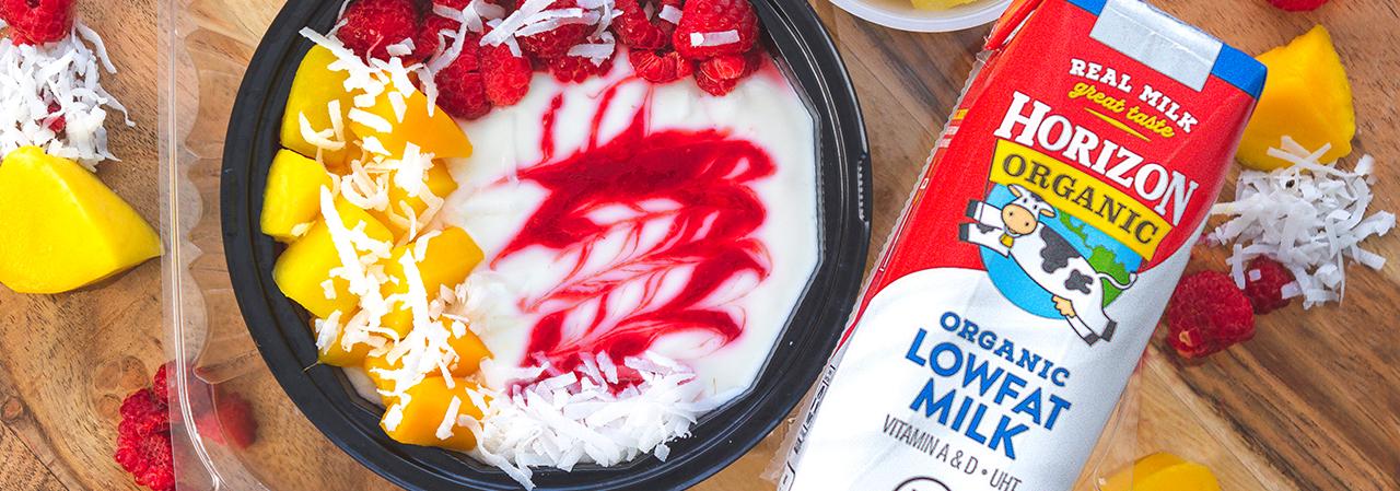 Raspberry Mango Swirl Greek Yogurt Bowl