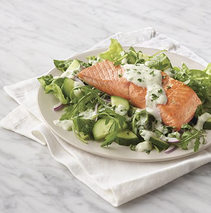 Salmon with Creamy Grapefruit Basil Dressing