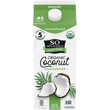 So Delicious Dairy Free Unsweetened Original Organic Coconutmilk Half Gallon